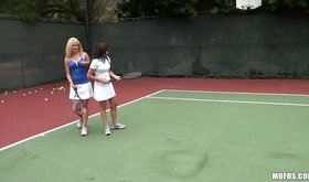 A naughty tennis instructor has a new lesson on his mind