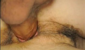 Tight hairy slit looks great with that creampie inside it