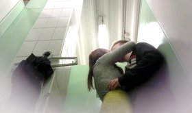 Two hot girlfriends making out in the bathroom