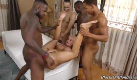 Tanned blonde girlfriend gang-banged by hung black dudes