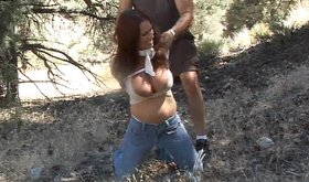 Outdoors bondage video featuring Goldie McHawn getting abducted