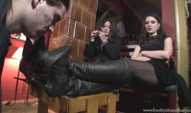 Two femdom-addicted girlfriends force this slave to clean their boots
