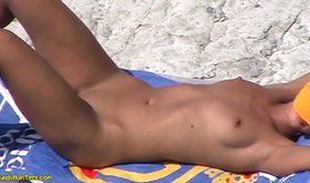 Nudist blonde sunbathing totally naked and looking hot AF