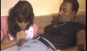 Frisky brunette gets laid with a black man while other chicks are watching