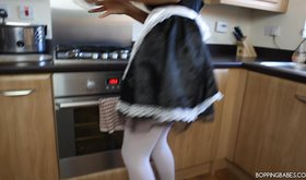 Lustful maid is getting off her alluring uniform and seducing