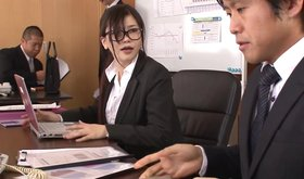Asian businesswoman is seducing her horny and handsome coworker