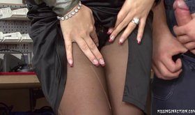 Blond-haired pantyhose-clad Euro slut gets pissed on