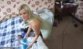 Extremely naughty blonde girlfriend teasing with her body