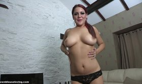 Buxom redheaded girlfriend stripping for you