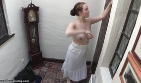 Busty girlfriend doing chores but also looking hot